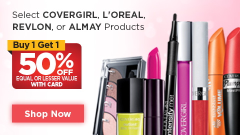 Select COVERGIRL, L'OREAL, REVLON, or ALMAY Products Buy 1, Get 1 50% OFF regular retail with card Shop Now
